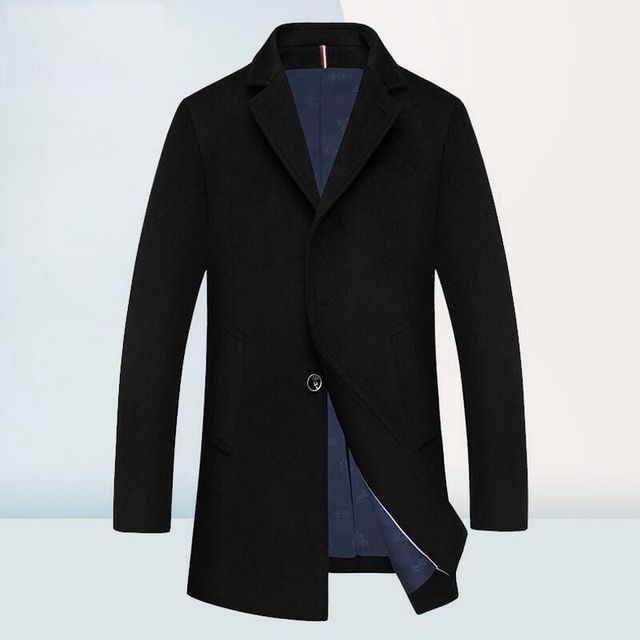 Otoño Invierno Ropa de Abrigo de Lana Hombres de La Marca de Moda de Lana Ocasional Hombres de la chaqueta de Traje de Cuello Para Hombre Pea Coat Abrigo de Invierno de Alta calidad hombres