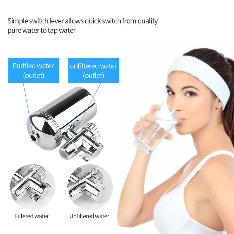 Stainless Steel Advanced Faucet Water Filter Diatom Ceramic Tap Water Purifier Water Filtration System Washable Cartridge
