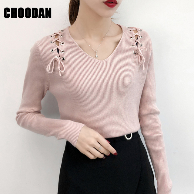 06d3718869f Korean Women Sweater Sexy Lace Up Long Sleeve Autumn Winter 2019 Fashion  V-neck Knitting