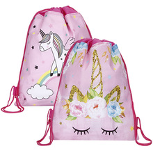 12pcs//lot Unicorn Drawstring bag for Girls Travel Storage Package Cartoon School Backpacks Children Birthday Party Favors