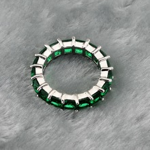 Green Crystal Surrounded Wedding Rings For Women, Silver Color Jewelry Free Gift Box