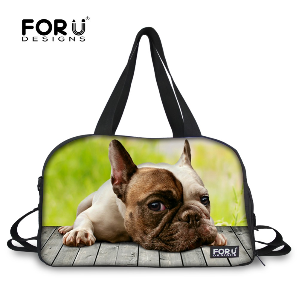 Multifunction women travel handbag large capacity casual travel duffle bags animal cute bulldog cat print men travel duffle bags