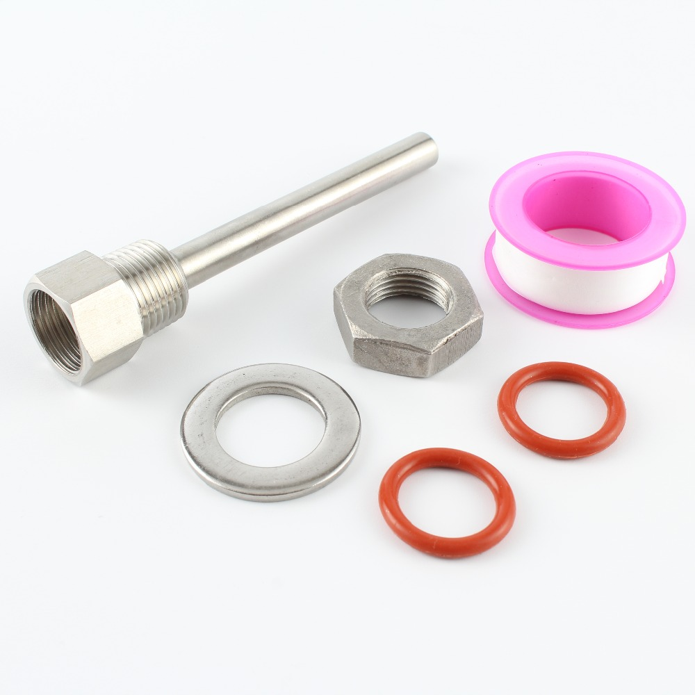 6.5CM TO 15CM Length Stainless Steel 304 Thermowell Kit With 1/2'' DN15 Lock Nut Homebrew Thermometer Part