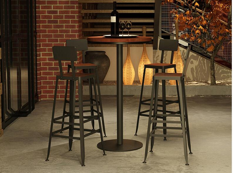 Bar Chair Solid Wood European Iron Art Bar Chair Bar Stand Modern Simple Chair High Stand Bar Chair