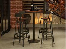 Bar Chair Solid Wood European Iron Art Stand Modern Simple High