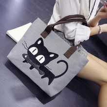 2019 New Women Canvas Handbag cartoon Cat print Shoulder bag Female Large Capacity Ladies Beach Bag Women Tote Shopping Handbags цена 2017