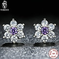 925 Sterling Silver Forget Me Not, Purple & Clear CZ Earrings Compatible With VRC boucle d'oreille femme Fashion Jewelry