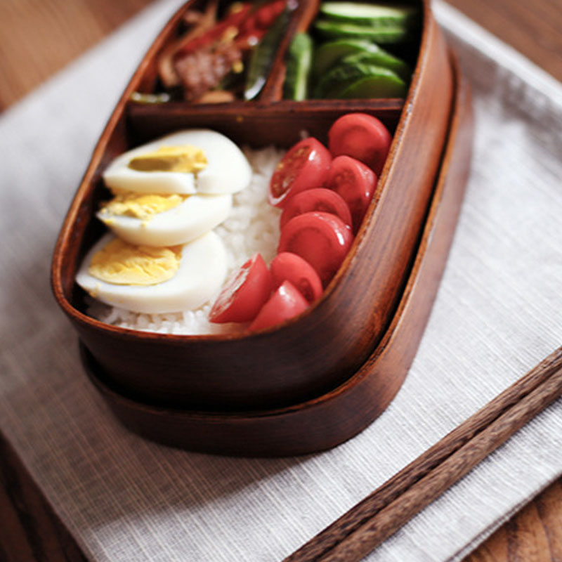 Convenient And Portable Japanese Oval Bento Boxes <font><b>Wood</b></font> <font><b>Lunch</b></font> <font><b>Box</b></font> Handmade Natural Wooden Sushi <font><b>Box</b></font> Tableware Bowl Food Container image