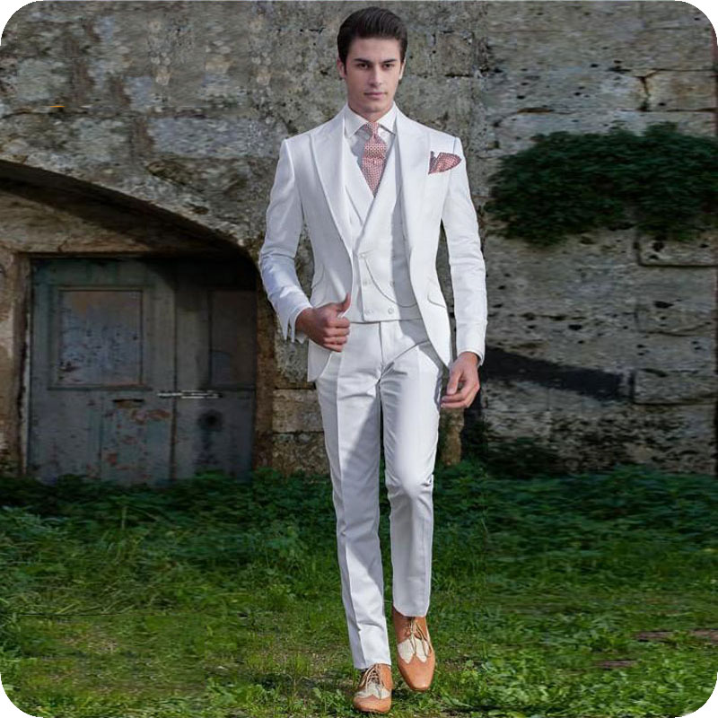 Vintage White Men 39 s Classic Suits Groom Wedding Tuxedo Slim Fit Terno Masculino Morning Party Man Blazers 3Piece Coat Pants Vest in Suits from Men 39 s Clothing