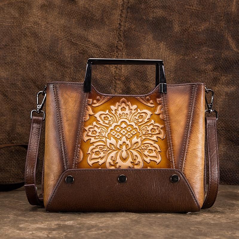 Women Genuine Leather Shoulder Bag Chinese Style Vintage Tote Handbag Real Cowhide Female Embossed Messenger Top Handle Bags