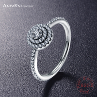 ANFASNI Fashion Real 925 Sterling Silver Ring Engagement Wedding Finger Anel CZ Diamond Zircon For Women