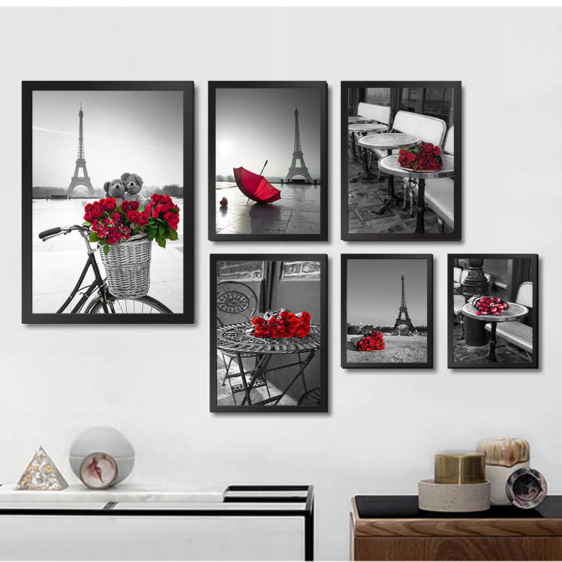 Modern Black White City Building Art Canvas Painting Prints Tower Red Rose Posters Wall Picture For Living Room Home Decor LB146