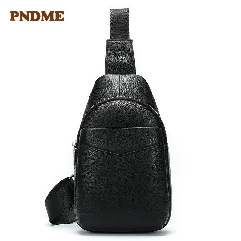 Top-layer cowhide outdoor multifunctional mens chest bag leisure cross shoulder