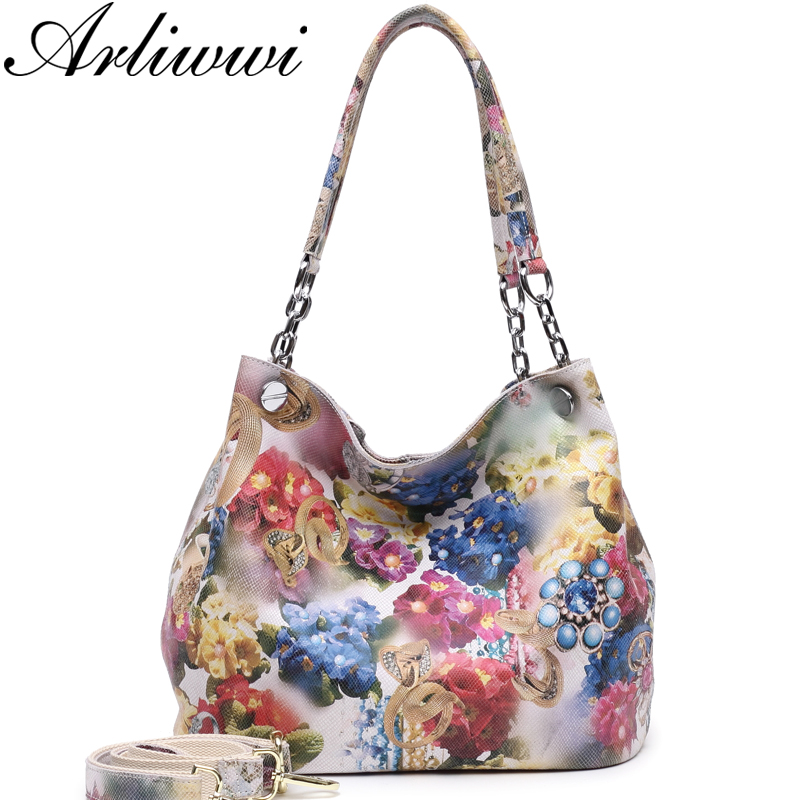 Arliwwi 100% Real Leather Shiny Colorful Blossom Luxury Platinum Half Chain Handle Women Shoulder Bags Fashion Floral HandbagArliwwi 100% Real Leather Shiny Colorful Blossom Luxury Platinum Half Chain Handle Women Shoulder Bags Fashion Floral Handbag