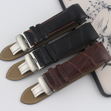Men's mechanical watch strap T-CLASSIC COUTURIER 22MM 23MM 24MM black brownT035.627 leather strap With butterfly buckle band