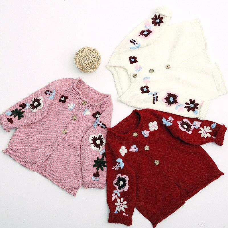 2018 Herbst Mädchen Strickjacke Stickerei Strick Pullover Strickjacke Taste Baby Jacke Mädchen Winter Pullover Pullover Baby Mädchen