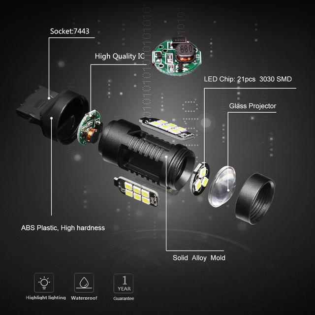 2pcs 1200Lm T20 W21W LED W21/5W LED WY21W 7440 7443 LED Bulb T25 3157 3156 p27/7w Car Brake Reverse Light 12V Lamp Turn Signal