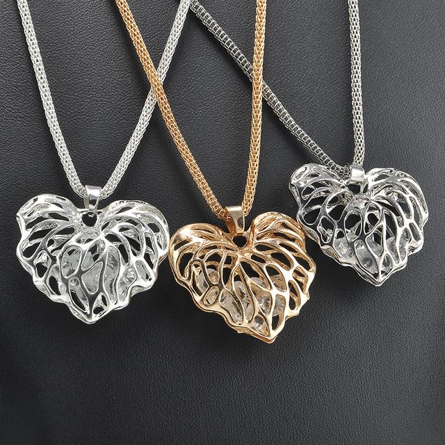 Fashion Heart Shaped Women's Rhinestone Pendant Necklace