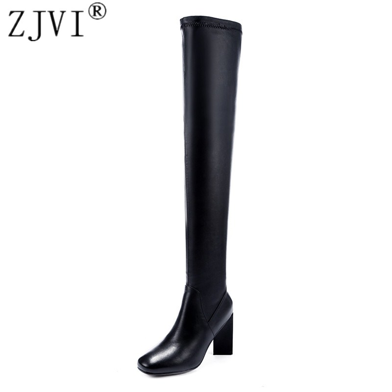 ZJVI womens fashion autumn winter over the knee boots woman thigh high boots genuine leather boots women pointed toe shoes