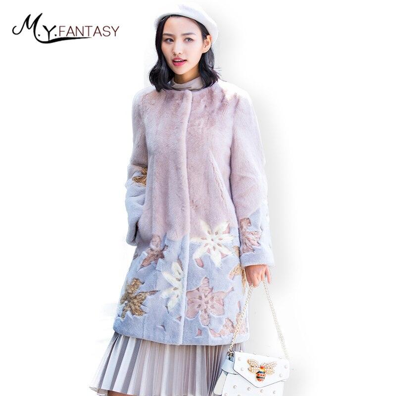 M. y. FANSTY 2019 Inverno O-Collo Causale delle Donne di Visone Cappotto Colorato Naturale Reale Cappotto di Pelliccia Pieno Pelt Lungo Sottile Patchwork di Visone cappotti