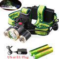 9000Lm Led lighting Head Lamp T6+2R5 LED Headlamp Headlight Camping Fishing Light +2*18650 battery+ EU/UScharger