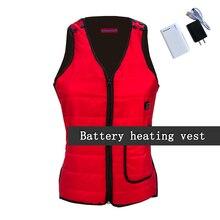 Фотография NEW usb heating vest winter clothes for women men warm thick vest 3 level charging vest woman vest size s-xxxl black red