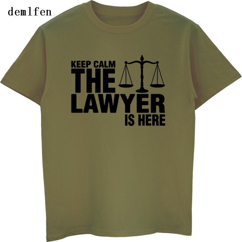 Funny Keep Calm The Lawyer Is Here T Shirt Brand Mens T Shirt Summer Short Sleeve Cotton O-neck T-shirt Tees Tops