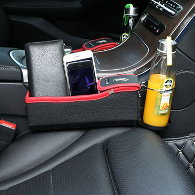 Car Stowing Tidying Seat Crevice Storage Box Interior Content Locker Pocket PU Leather For Cup Phone