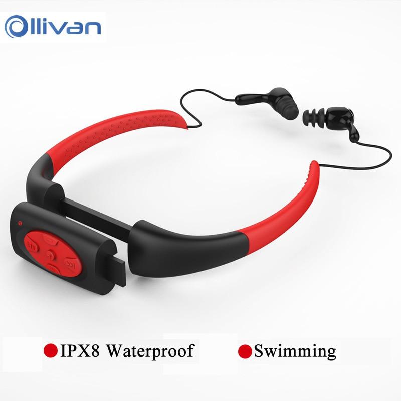 Ollivan 4GB 8GB IPX8 Waterproof Underwater Sport MP3 Music Player Neckband Stereo Earphone Headset for Diving Swimming Headphone