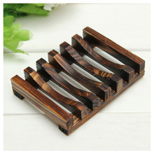 Wood Kitchen Bathroom Sponge Soap Dish Plate Box Holder Container Shelf,Size: 10.8x8x2.5cm ,Carbon Wood Color(China)