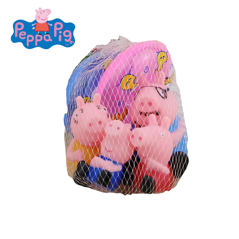 Peppa Pig 4/PCS Classic Toys Bath Toy Baby Bathing Water  Pinch Pinch Gelatin Small Animal Set Educational Toys  For Children