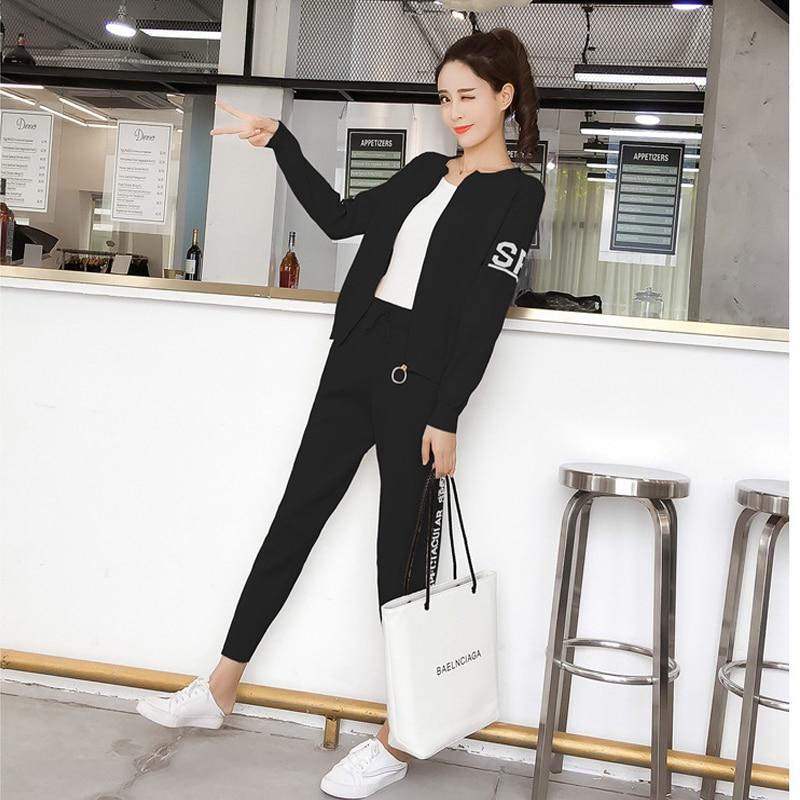 Knitted Tracksuit Women Pant Suits Sets 2018 New Fashion Elegant Casual 2 Piece Set Women Letter Sweater Pencil pants 3