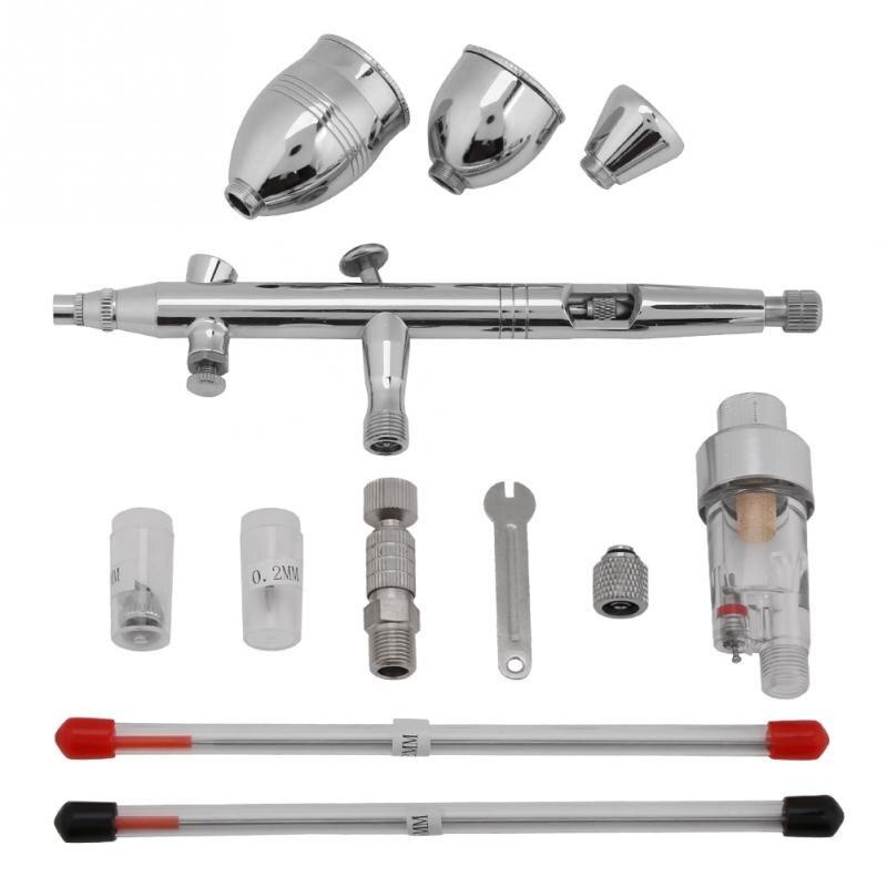 1 satz Spritzpistole Airbrush 0,3mm 0,2mm 0,5mm Düsen 2cc 5cc 13cc Tassen Tube Set Kit Airbrush gun Zubehör Hohe Qualität