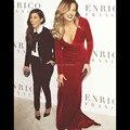 Mermaid Burgundy Velvet Long Sleeves Kim Kardashian Red Carpet Celebrity Evening Dresses
