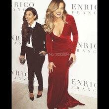 Mermaid Burgund Samt Mit Langen Ärmeln Kim Kardashian Roter Teppich Promi Abendkleider