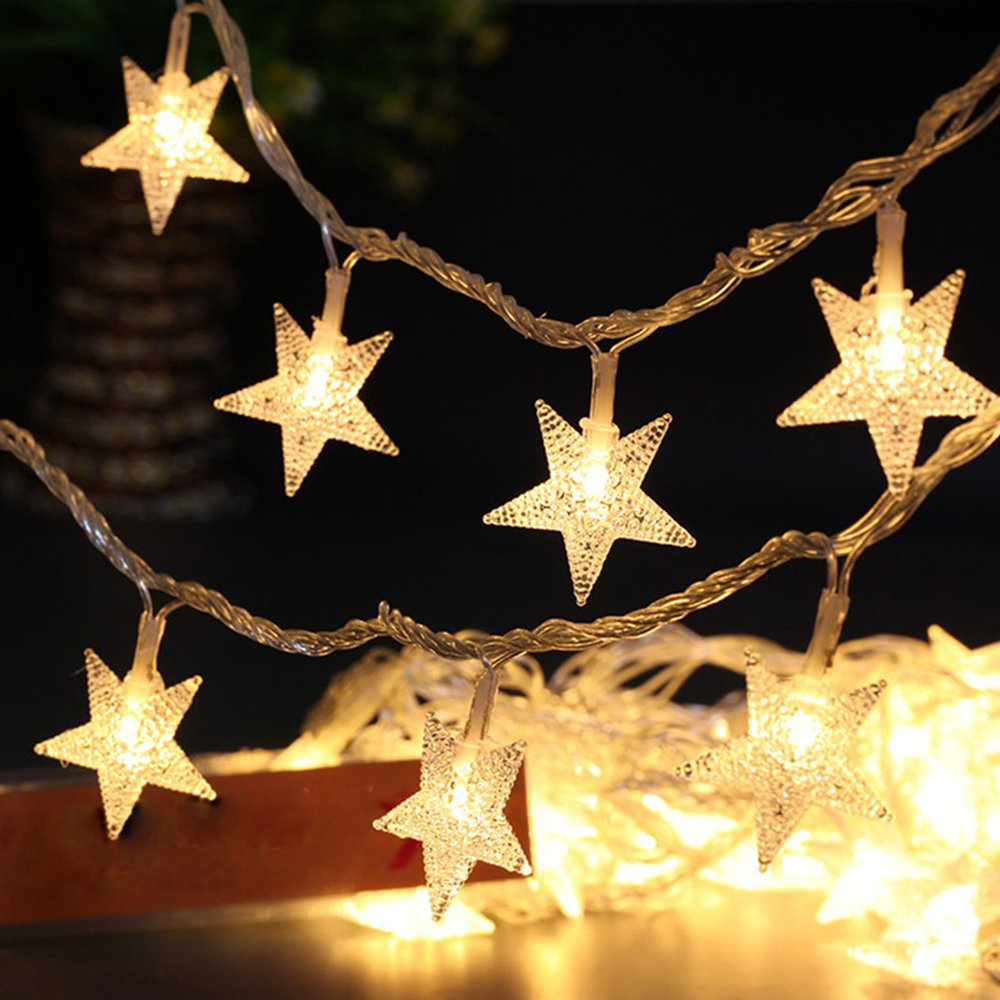 buy battery 110v 220v led star fairy string lights christmas 100 led star. Black Bedroom Furniture Sets. Home Design Ideas