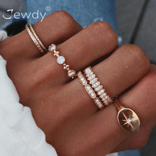 6 Pcs/set Bohemian Crystal Stone Star Shiny Rings Set Vintage Geometric Gold Color Knuckle Ring For Women Jewelry Gift