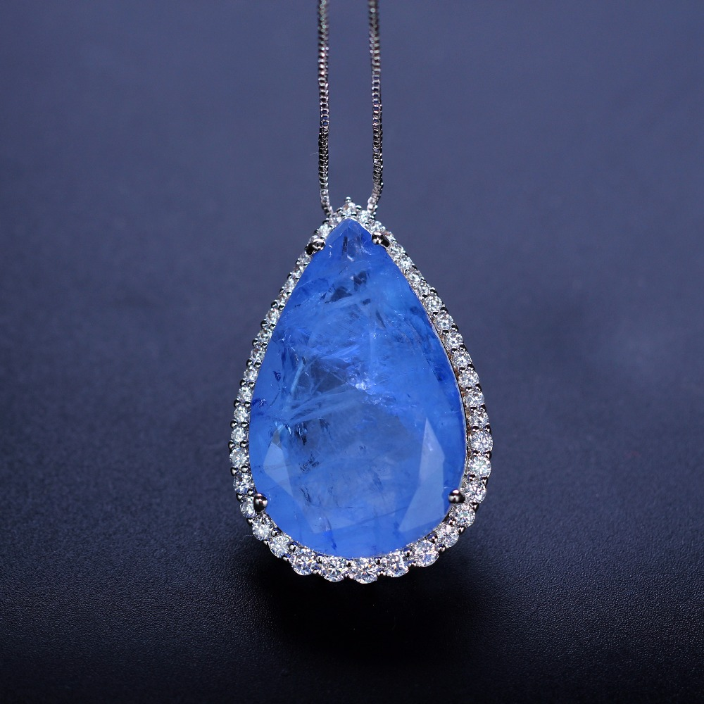 New Crystal Fusion Natural stone necklace water drop pendant with cubic zirconia long chain necklace for women gift NFX0012502