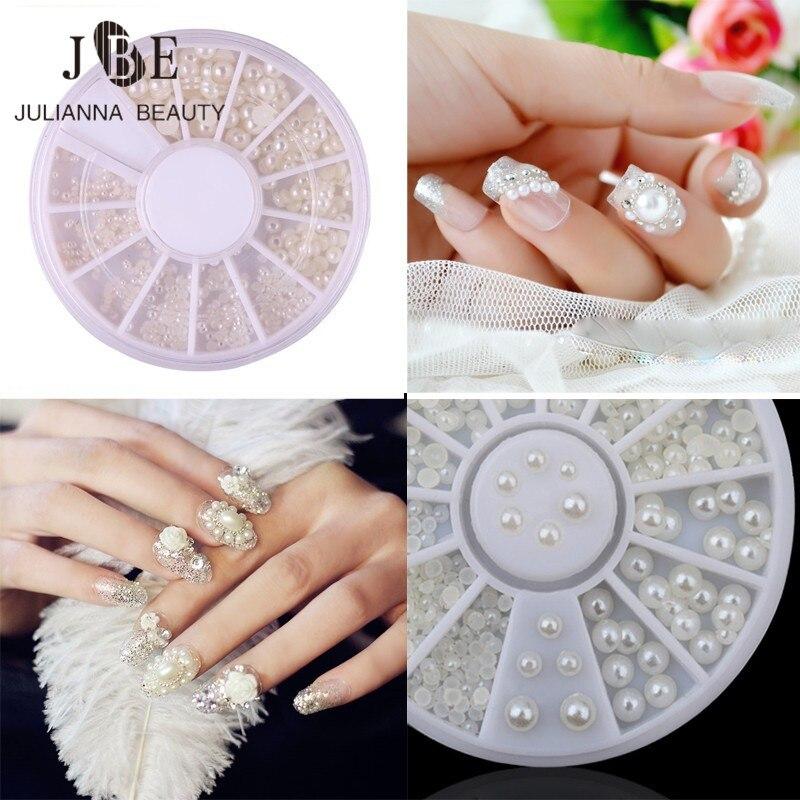 Φ_Φ1 Box New Wheels 3D Nail Art Pearl 4 Size 2mm/3mm/4mm/5mm Clear ...