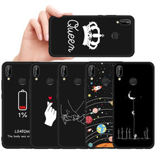 Pattern Painted TPU Case For Huawei Honor 10 9 8 Lite 6C Pro 8A 8X Max 8C V20 V9 Play Magic 2 Note 10 Black Matte Cover Capa(China)