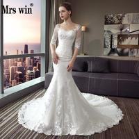 Mermaid Wedding Dress 2020 The Bridal Half Sleeve O neck Court Train Lace Up Trumpet Gown Princess Luxury Wedding Gown F