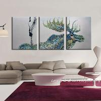 100 Handpainted 3 Piece Modern Decorative Painting Moose Oil Painting On Canvas Wall Art For Living