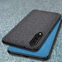 Textura de tela caso para Samsung Galaxy A90 A80 A70 A60 A50 A40 A30 A10 2019 M30 M20 M10 Retro de Color clásico de cuero