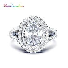 Rainbamabom Vintage 100% 925 Sterling Silver Created Moissanite Gemstone Wedding Engagement Diamonds Ring Jewelry Wholesale