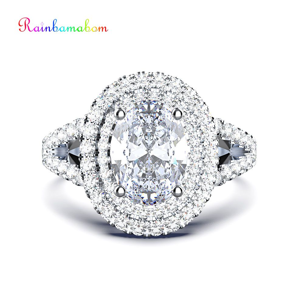 Rainbamabom Vintage 100% 925 Sterling Silver Created Moissanite Gemstone Wedding Engagement Diamonds Ring Jewelry Wholesale