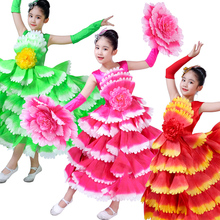 beautiful chinese flower dance costumes for girls festival new year dress kids