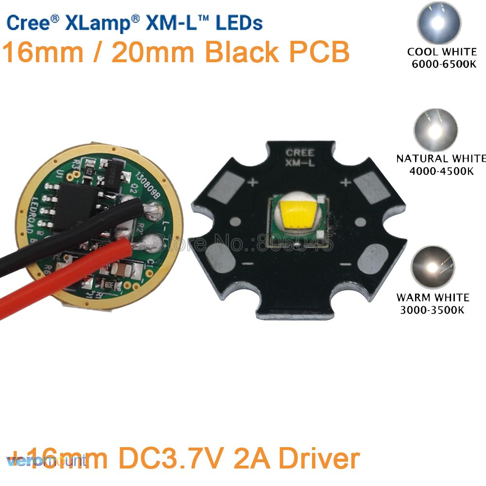 Cree XML XM-L T6 Cool White Neutral White Warm White 10W High Power LED Emitter 16mm or 20mm Black PCB+ DC3.7V 2A 5 Mode Driver 1pcs cree xml led xml2 led t6 u2 driver 17mm 20mm 2 7 4 2v 2 2 2a 5 mode led driver for cree xml led emitter