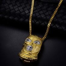 3 цвета, панк стиль, персонализированная голова в масках, Большая подвеска, ожерелье, хип-хоп ювелирные изделия, стимпанк, Золотая длинная цепочка, массивное ожерелье