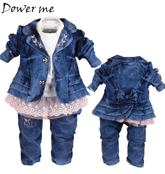 New Spring 0-3Y Girls Denim Clothing Sets Cowboy Coat+Lace T Shirt+Jeans Pants 3pcs Kids Clothes Sets Baby Girl Autumn Suit 2016 new girls flowers lace 3pcs clothes sets spring autumn kids coat long sleeved t shirt pants cute patter girl set high grade