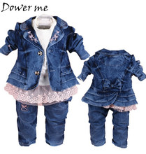 New Spring 0-3Y Girls Denim Clothing Sets Cowboy Coat+Lace T Shirt+Jeans Pants 3pcs Kids Clothes Sets Baby Girl Autumn Suit